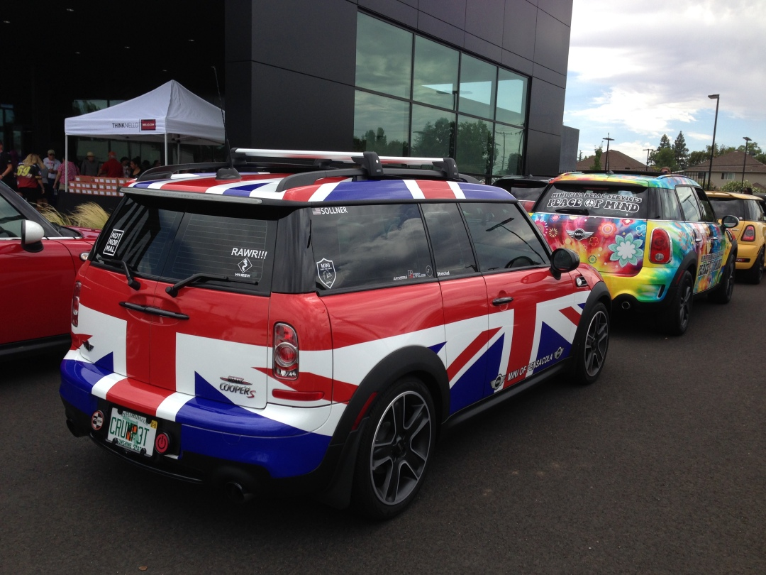 union jack wrapped mini cooper